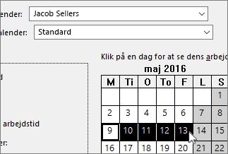 Fridage valgt i kalenderen