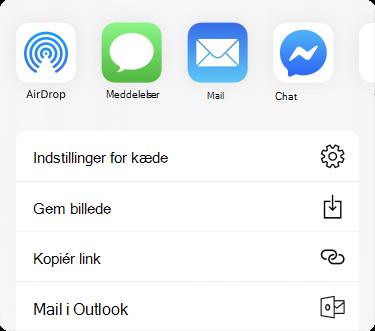 Delingsmenu med apps langs toppen og en liste med indstillinger for deling under disse.