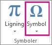 Kommandoen Symbol under fanen Indsæt