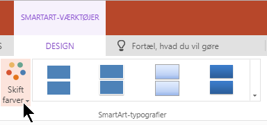 Under SmartArt-værktøjer skal du vælge Skift farver for at åbne galleriet farve