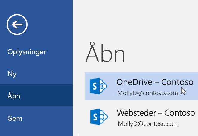 Skærmbillede af Filer > menuen Åbn i Word.