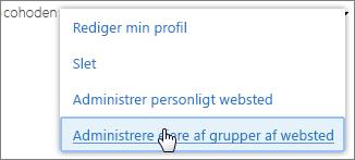 Administrer personligt websted