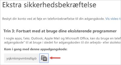 Vælg kopieringsikonet for at kopiere adgangskoden til din udklipsholder.