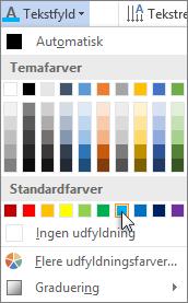 Vælge en tekstfyldfarve