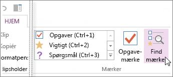 Du kan finde mærker vha. ruden Oversigt over mærker i OneNote.