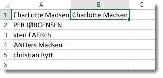 Liste over fejlskrevne navne i kolonne A, og i celle B1 et navn med stort forbogstav