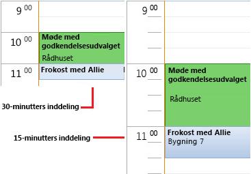Eksempel på et kalendertidsgitter med et tidsinterval på 30 og 15 minutter