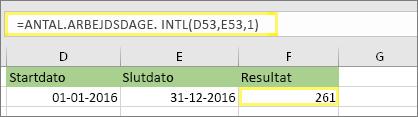 = ANTAL.ARBEJDSDAGE. INTL(D53,E53,1) og resultat: 261