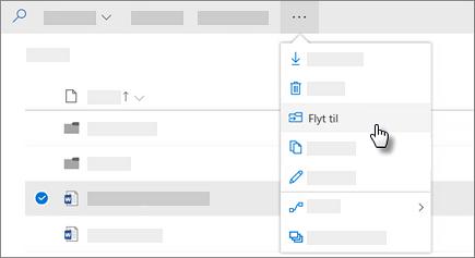 Skærmbillede af kommandoen Flyt til i OneDrive for Business
