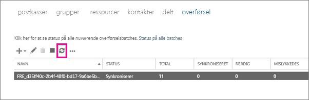Klik på Opdater for at få vist synkronisering af postkasser.
