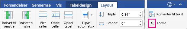 Når vinduet er bredt, vises Formel på fanen Layout og ikke i menuen Data.