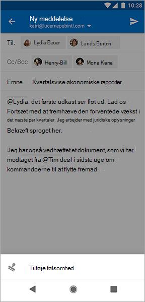Skærmbillede af knappen Tilføj følsomhed i Outlook til Android
