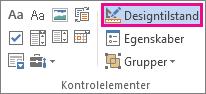 Knappen Design i udviklertilstand