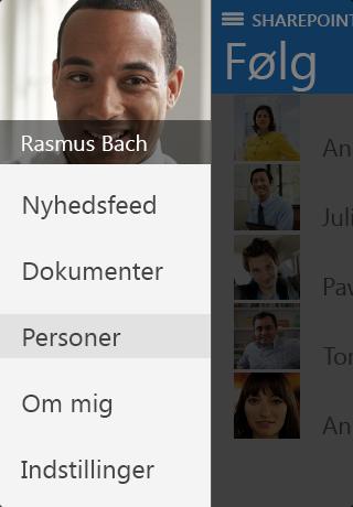Skærmbillede af Om mig i SharePoint Newsfeed-app'en