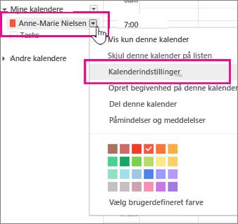 Indstillinger for Google-kalender