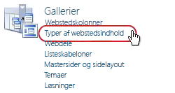 Linket Webstedsindholdstyper under Gallerier