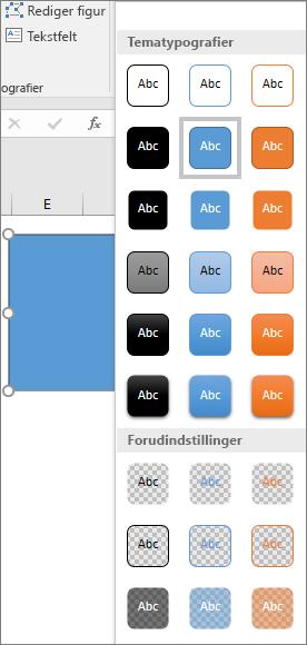 Figurtypografigalleri, der viser nye, foruddefinerede typografier i Excel 2016 til Windows