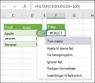 #CALC! fejl - tom matrix