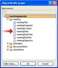 Valg af feltet meetingDate i dialogboksen Vælg felt eller gruppe