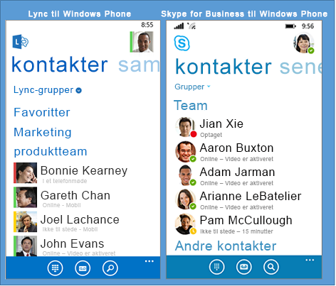 Side om side-sammenligning af Lync og Skype for Business til Windows Phone