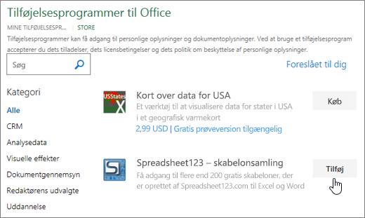 Skærmbillede viser Office-tilføjelsesprogrammer side, hvor du kan vælge eller søge efter et tilføjelsesprogram til Excel.