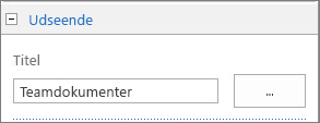 Ændr titlen på standarddokumentbiblioteket til Teamdokumenter