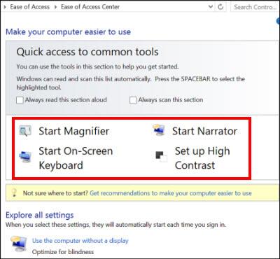 Dialogboksen Øget tilgængelighed i Windows, hvor du kan vælge teknologiske hjælpemidler
