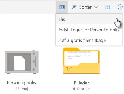 Skærmbillede af låsning af Personlig boks i OneDrive