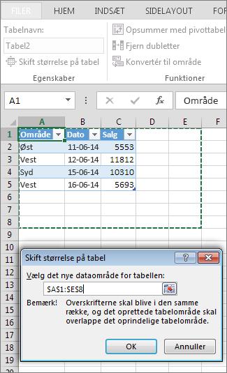 Tilpasse størrelsen på en tabel