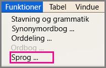 Menuen Værktøjer for Sprog i Office til Mac