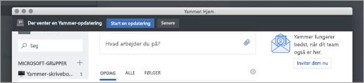 Opdateringer af Yammer-appen
