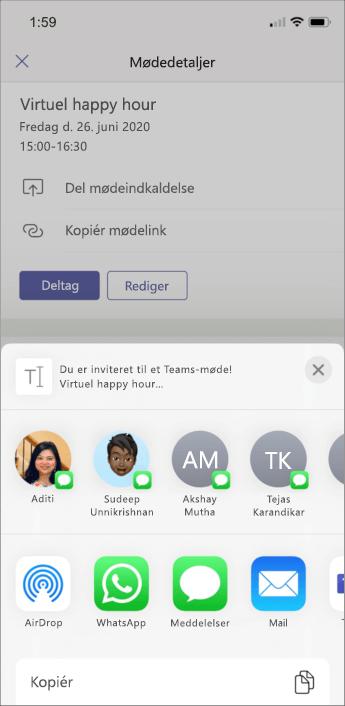 Mødedetaljer-skærmbilledet mobil