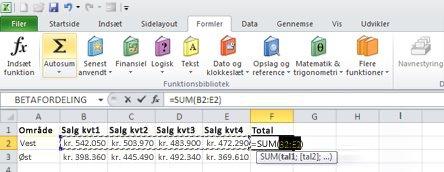 Brug af Autosum til hurtigt at lægge data i en række sammen
