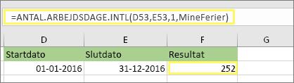 = ANTAL.ARBEJDSDAGE. INTL(D53,E53,1,MineFerier) og resultat: 252