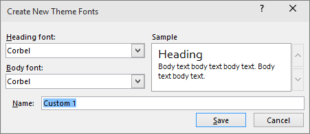 dialogboksen brugerdefinerede skrifttyper i PowerPoint