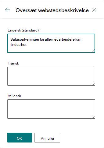 Oversæt webstedsbeskrivelse