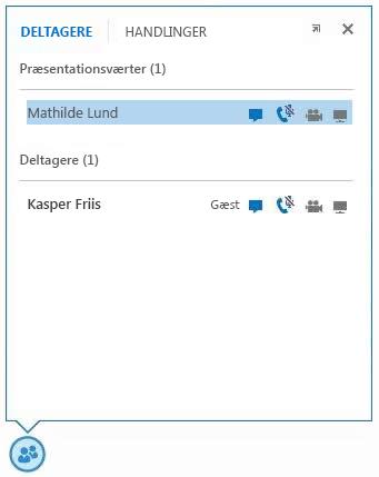 Skærmbillede af ikonerne ud for en deltagers navn, som angiver tilgængeligheden for chat, lyd, video og deling