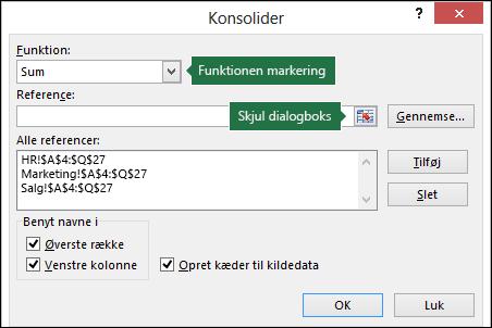 Dialogboksen Datakonsolidering