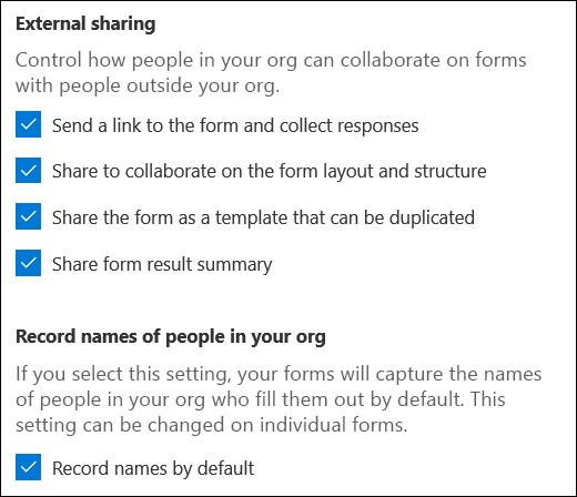 Samarbejdsindstillinger for Microsoft Forms