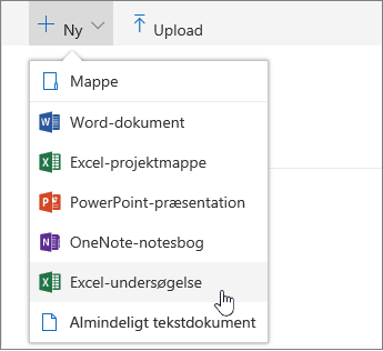Menuen Ny, kommandoen Excel-undersøgelse
