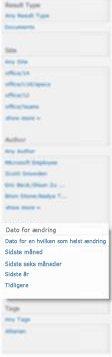 Søgeforbedringspanelet, der viser, hvordan søgeresultater kan sorteres efter et datointerval.