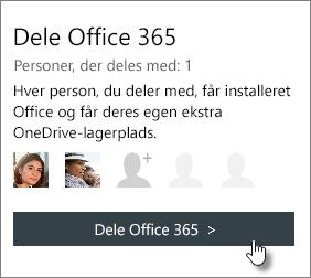 """Skærmbillede af sektionen """"Del Office 365"""" på siden Min konto, der viser, at abonnementet deles med én person."""