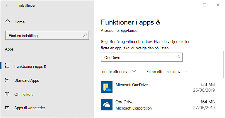 Appindstillinger for OneDrive i Windows