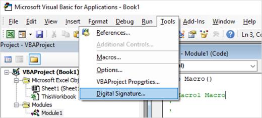 Skærmbillede af valg af digital signatur