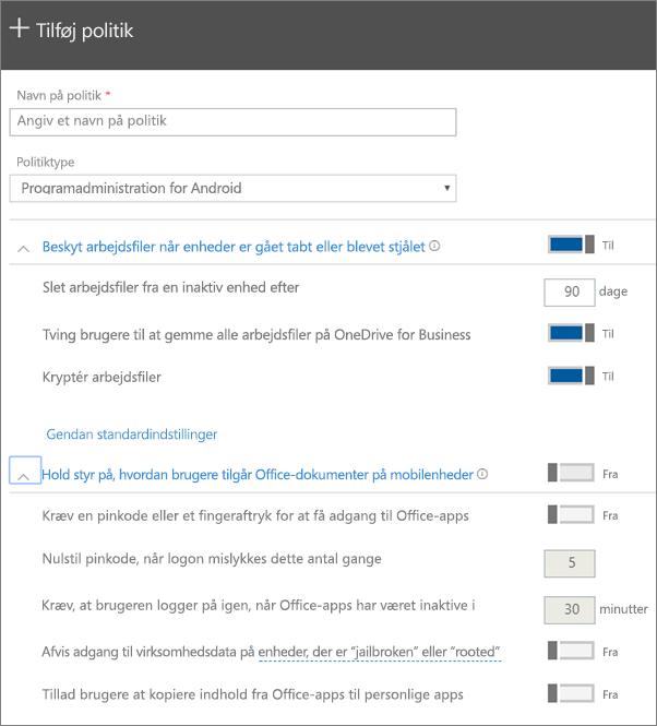 Skærmbillede af Opret en politik med Programadministration for Android markeret