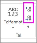 øge eller mindske decimaler på talformatering