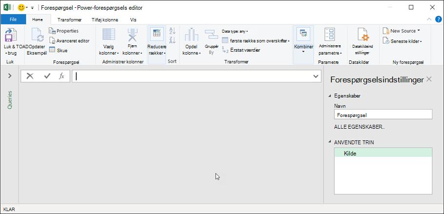 Forespørgsels editor i Excel 365