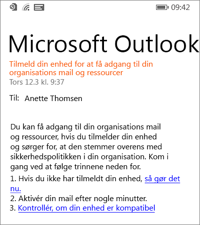 Mailmeddelelse om tilmelding på Windows Phone