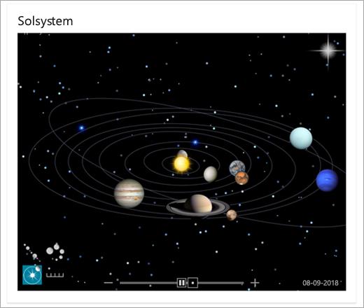 Kort over solsystemet i Bing