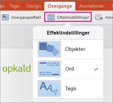 Viser effektindstillinger til Morph-overgangen i PowerPoint 2016 til iPad